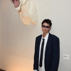 "Shauna Richardson with her sculpture, ""Crochetdermy(R) Tiger"""